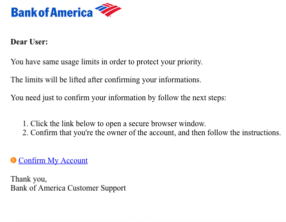 bank of america phishing scam