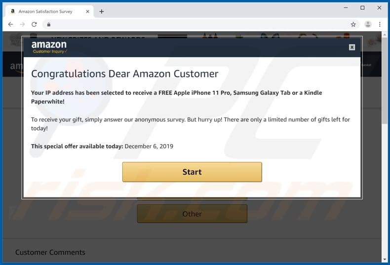 amazon survey scam popup