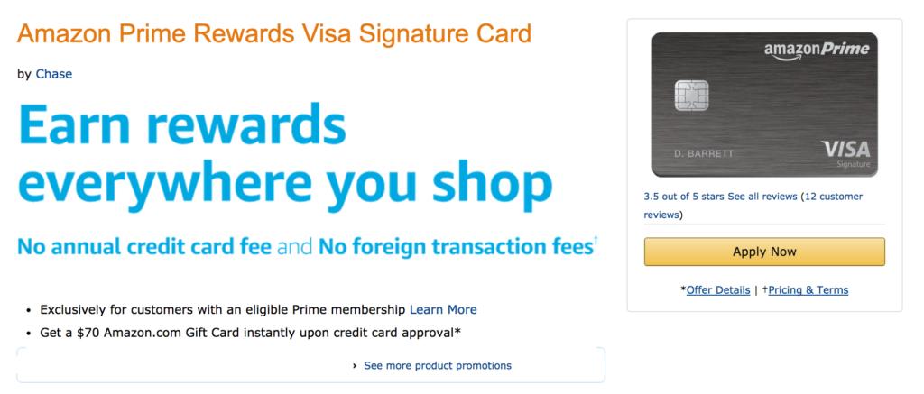 amazon chase rewards card 70 credit